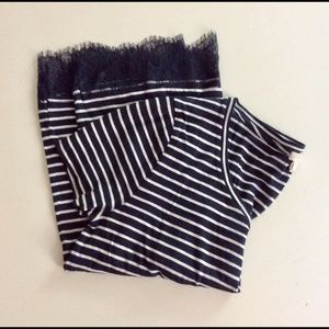 J. Crew Factory Striped Lace Detail Tee NWOT